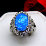 Load image into Gallery viewer, Gianna Oval Shape Blue Simulated Fire Opal Ring Ginger Lyne Collection
