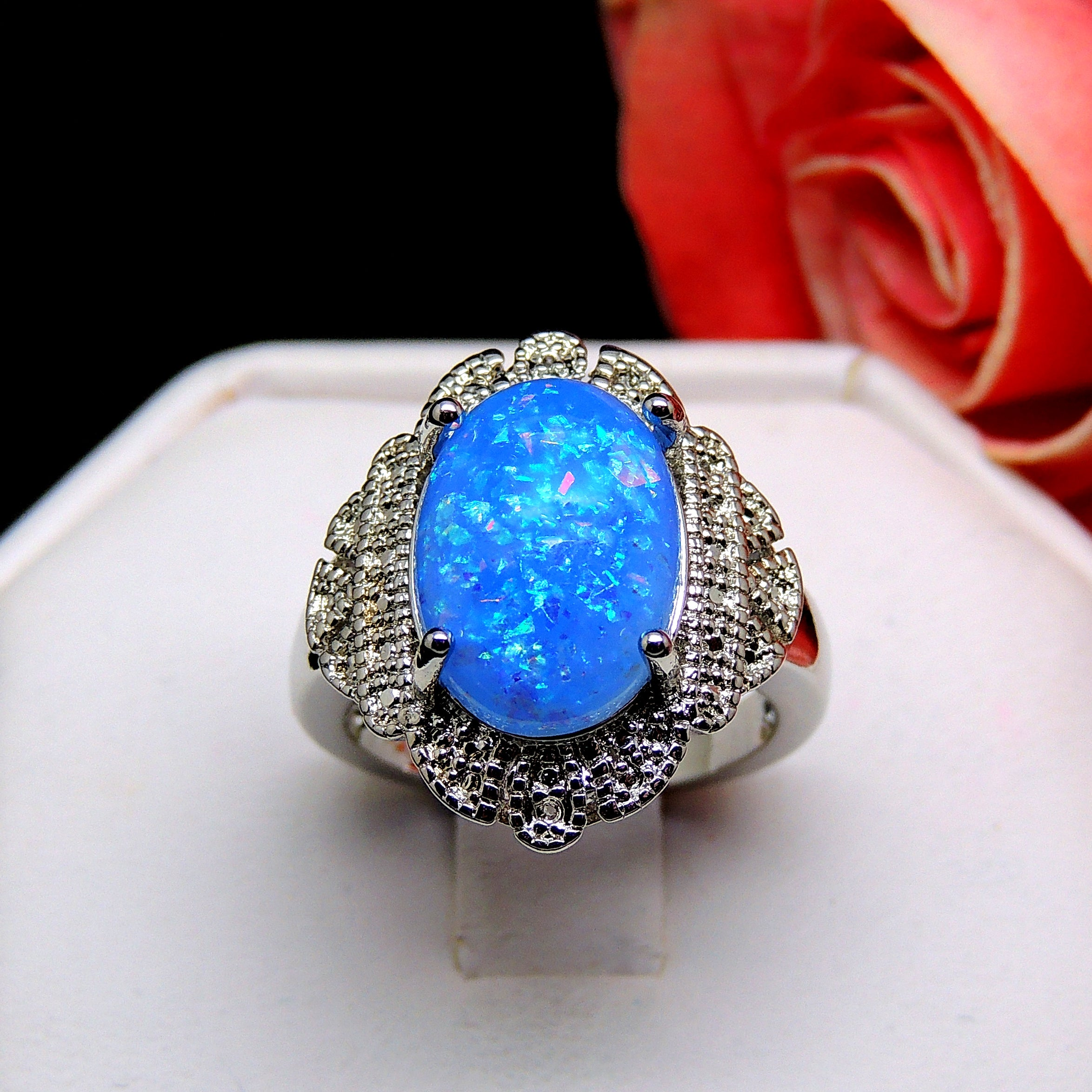 Gianna Oval Shape Blue Simulated Fire Opal Ring Ginger Lyne Collection