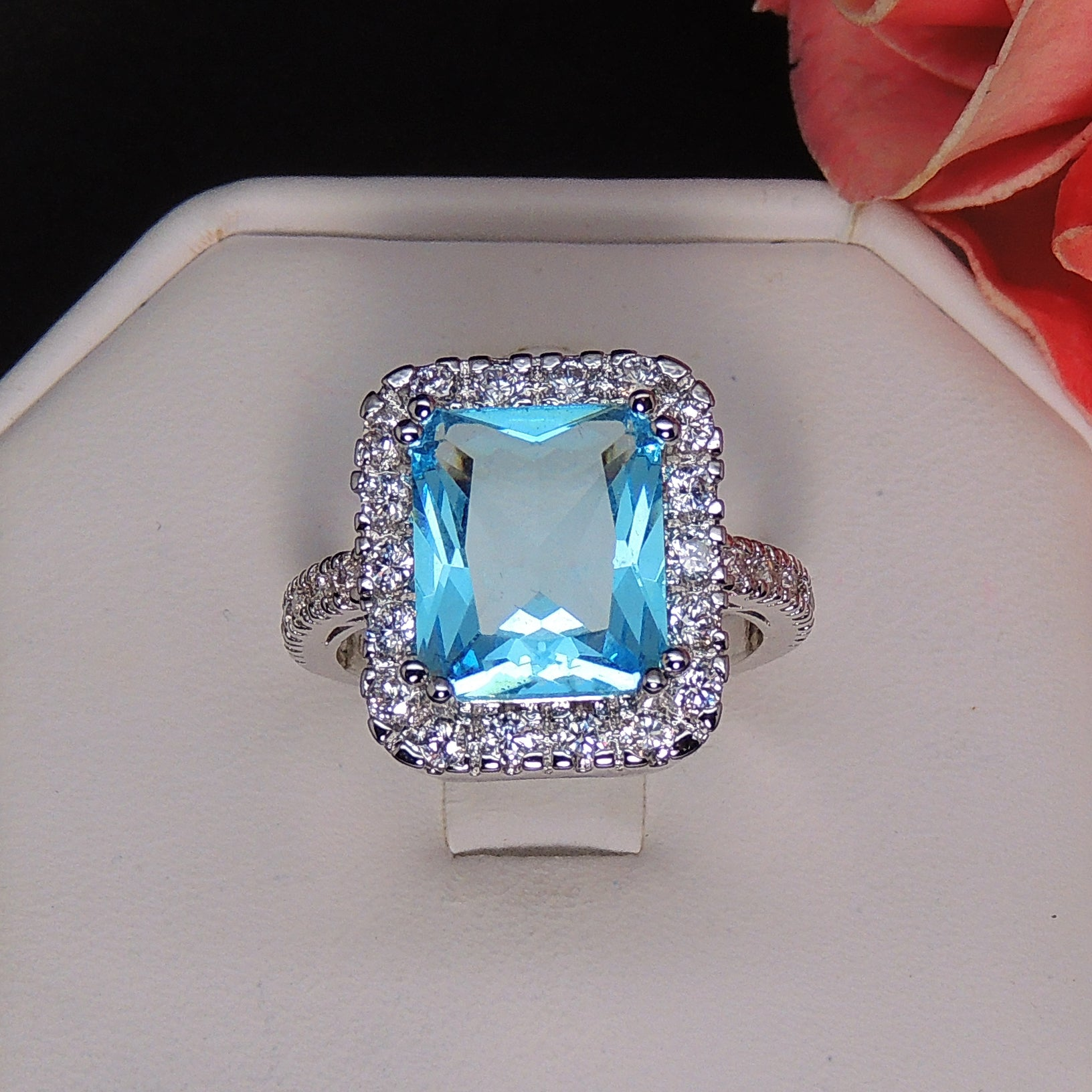 Gina Simulated Blue Topaz Exquisite 6 Carat Radiant Cut Ring- Ginger Lyne Collection