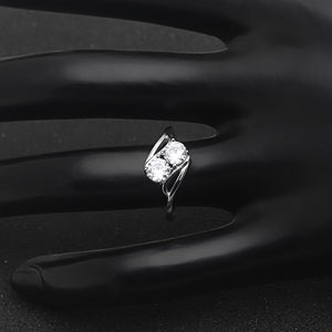 Giulia 925 Sterling Silver 2 Stone Style Engagement Wedding Bridal Ring Cubic Zirconia Ginger Lyne Collection