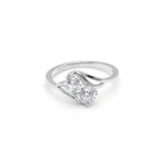 Load image into Gallery viewer, Giulia 925 Sterling Silver 2 Stone Style Engagement Wedding Bridal Ring Cubic Zirconia Ginger Lyne Collection