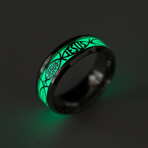 Glow in the Dark Jesus Jesusfish Stainless Steel Wedding Band Ring Ginger Lyne Collection