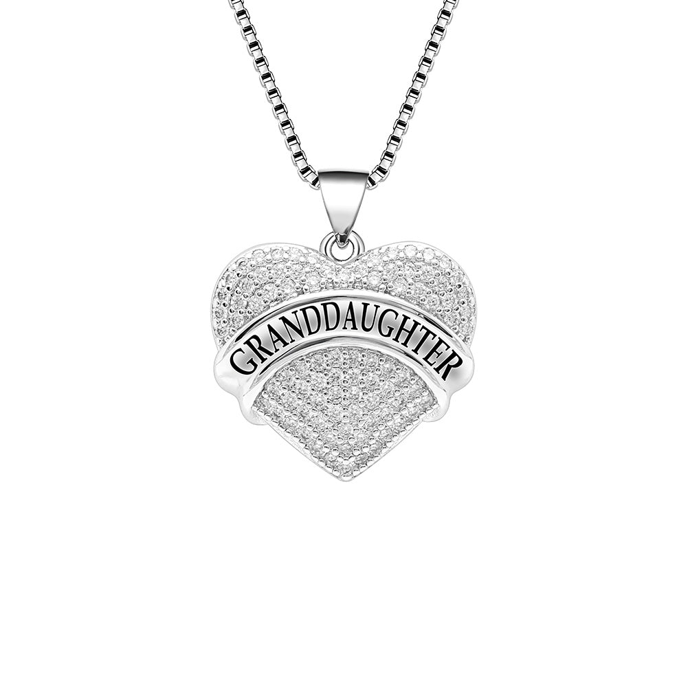 Granddaughter Heart Pendant Chain Necklace- Ginger Lyne Collection