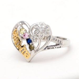 Grandma Heart Ring Inscribed To Grandma With Love by Ginger Lyne Collection