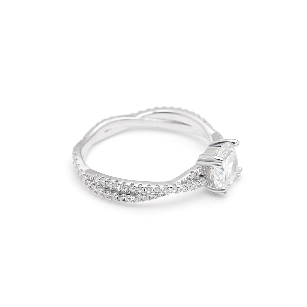 Greta 925 Sterling Silver Twist Style 7mm 1.25 CT CZ Engagement Wedding Bridal Ring Ginger Lyne Collection