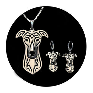 Greyhound Dog Sterling Silver Necklace Dangle Earrings Set by Ginger Lyne Puppy Dog Lovers Pet Pendant Box Chain Doggie Animal Paw Print Heart Jewelry for Pit Mom Women Girls Teens