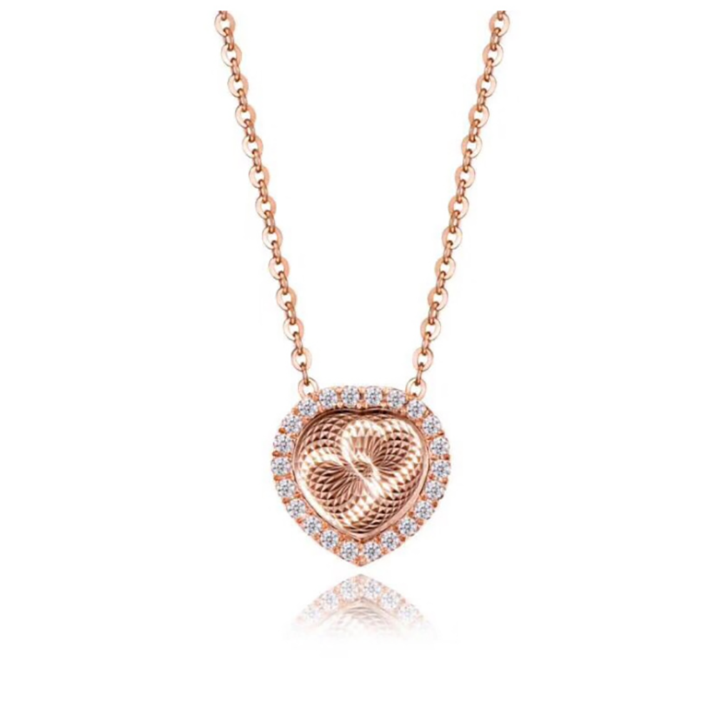 Heart Pendant Rose Gold over Sterling Silver CZ Chain Necklace Ginger Lyne Collection