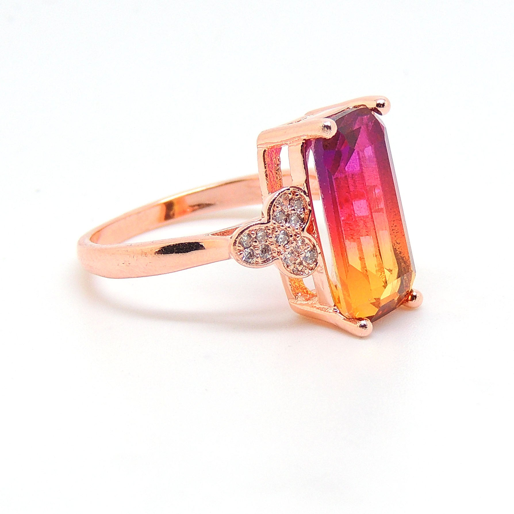 Iris Emerald Cut Rainbow Mystic Rose Gold Plated from the Ginger Lyne Collection