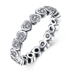 Jana Hearts Solid Sterling Silver CZ Eternity Wedding Bridal Band Ring Ginger Lyne Collection