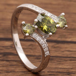 Load image into Gallery viewer, Three Stone Sterling Silver CZ Engagement Birthstone Ring Ginger Lyne Collection