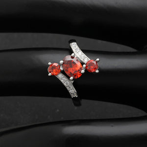 Three Stone Sterling Silver CZ Engagement Birthstone Ring Ginger Lyne Collection