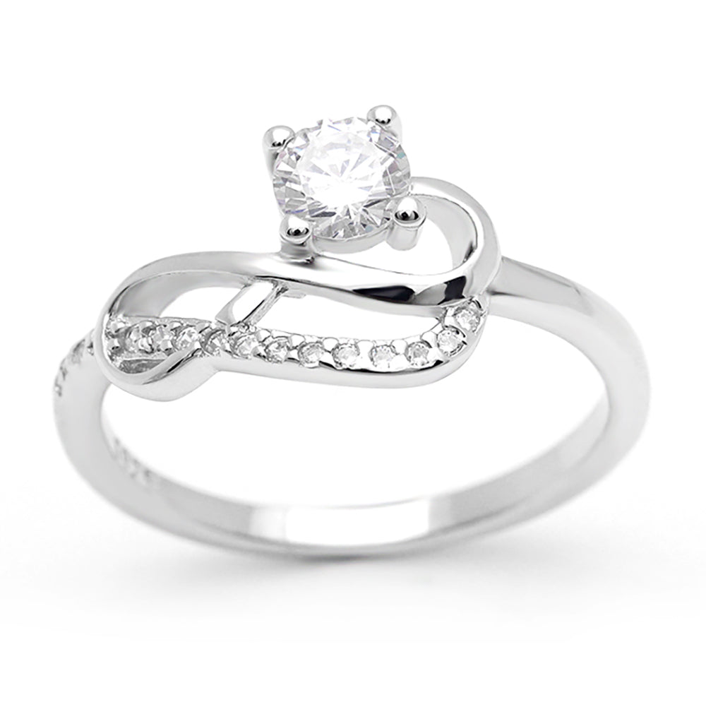 Jerilyn Infinity Solitaire with Accents Sterling Silver Engagement Bridal Wedding Ring Ginger Lyne Collection