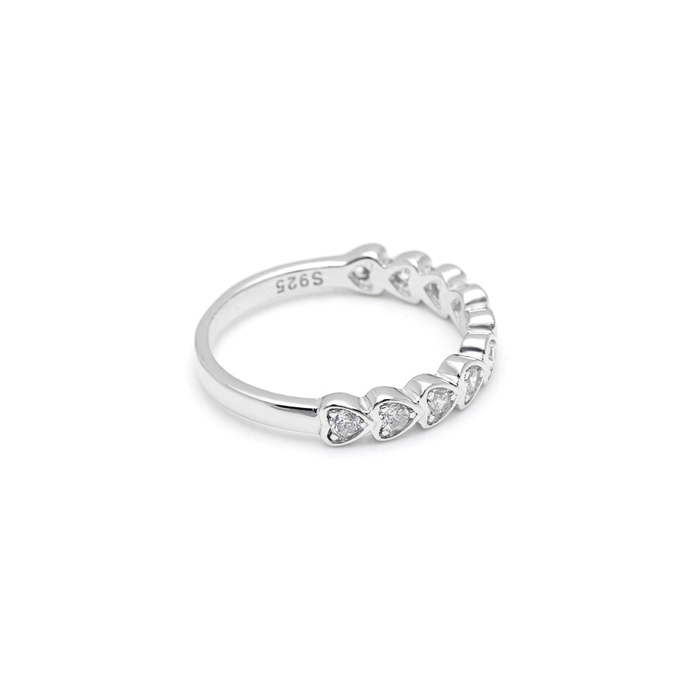 Julie Hearts Solid Sterling Silver CZ Anniversary Wedding Bridal Band Ring Ginger Lyne Collection