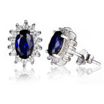 Load image into Gallery viewer, Kate Sterling Silver Blue Clear CZ Stud Earrings Ginger Lyne Collection