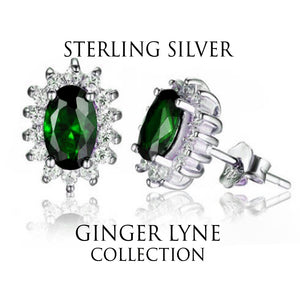 Kate Sterling Silver Blue Clear CZ Stud Earrings Ginger Lyne Collection