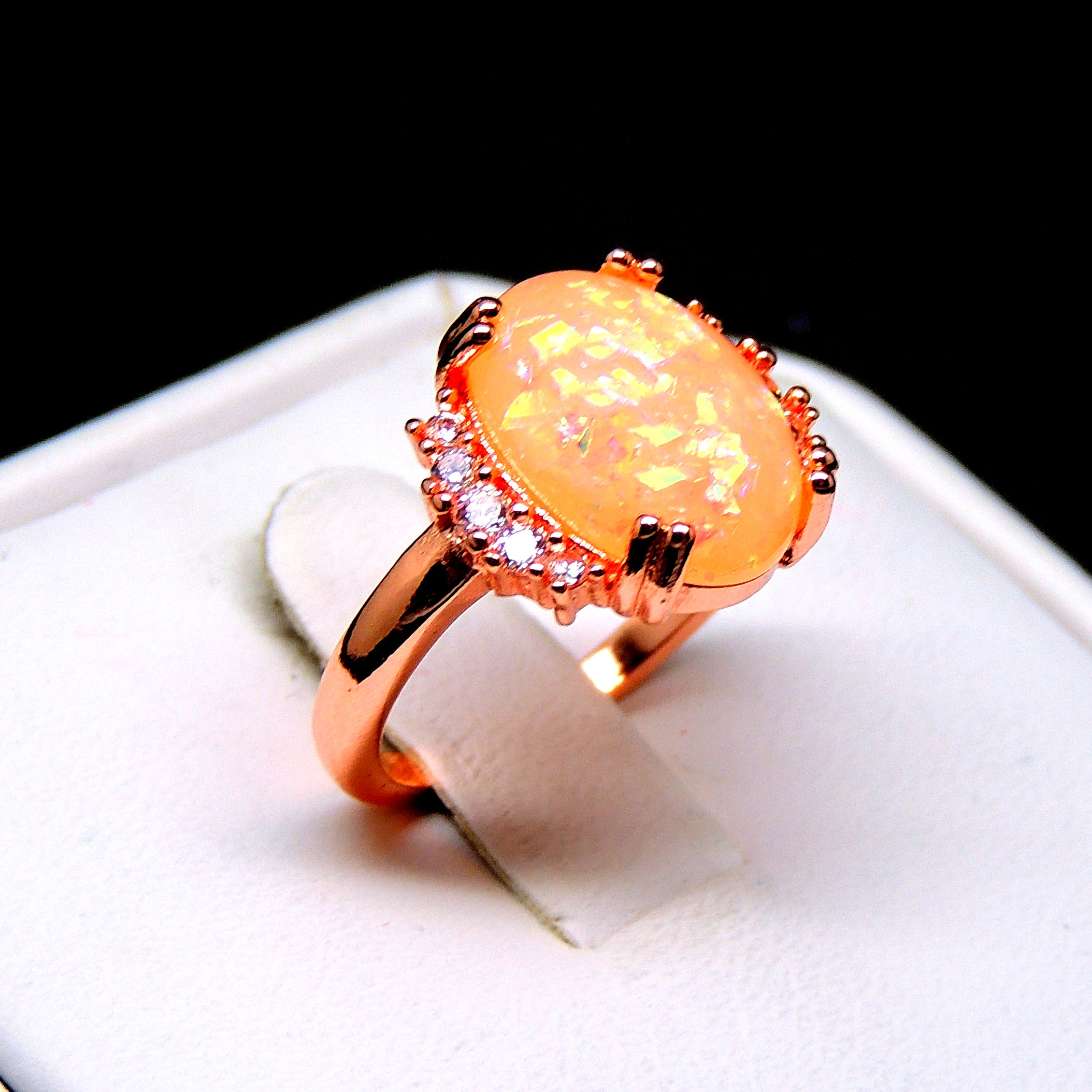 Kennedy Simulated Oval Fire Opal Ring - Ginger Lyne Collection