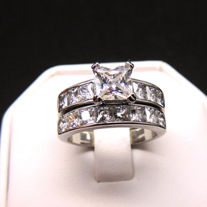 Kirsten Bridal Set Stainless Steel Princess Cz Engagement Ring Wedding