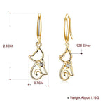Load image into Gallery viewer, Ginger Lyne Collection Cute Kitty Cat Kitten Dangle Girls Earrings 18k Gold Plated Sterling Silver Drop Hook Fashion Jewelry Cat Animal Ear Ring Gifts Young Women Hypoallergenic Nickel free