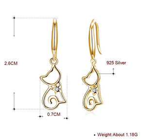 Ginger Lyne Collection Cute Kitty Cat Kitten Dangle Girls Earrings 18k Gold Plated Sterling Silver Drop Hook Fashion Jewelry Cat Animal Ear Ring Gifts Young Women Hypoallergenic Nickel free
