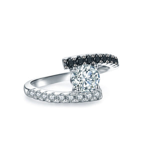 Kylie Solid Sterling Silver Black CZ Engagement Wedding Bridal Ring Ginger Lyne Black Tie Collection
