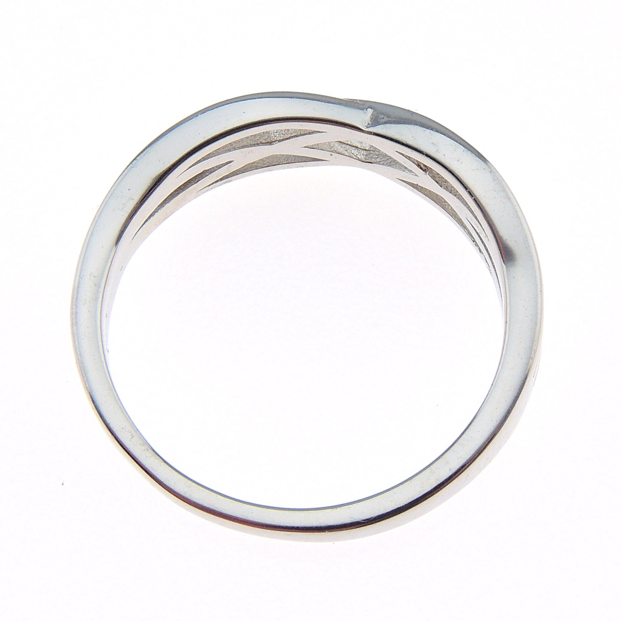Lanie Solid Sterling Silver 3.5mm Crisscross Wedding Bridal Band Ring Ginger Lyne Collection