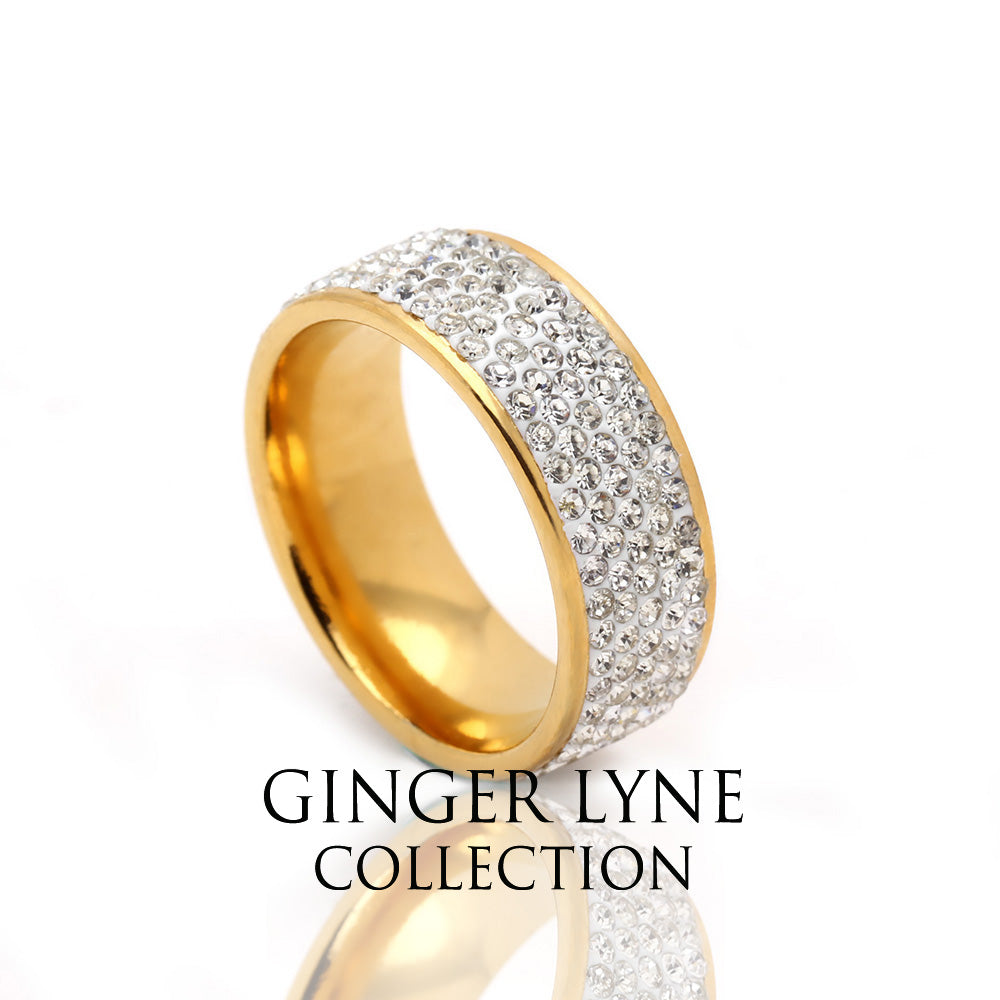 LaToya 8mm Gold Plated Crystals Stainless Steel Comfort Fit Wedding Band Ring - GLK Collection