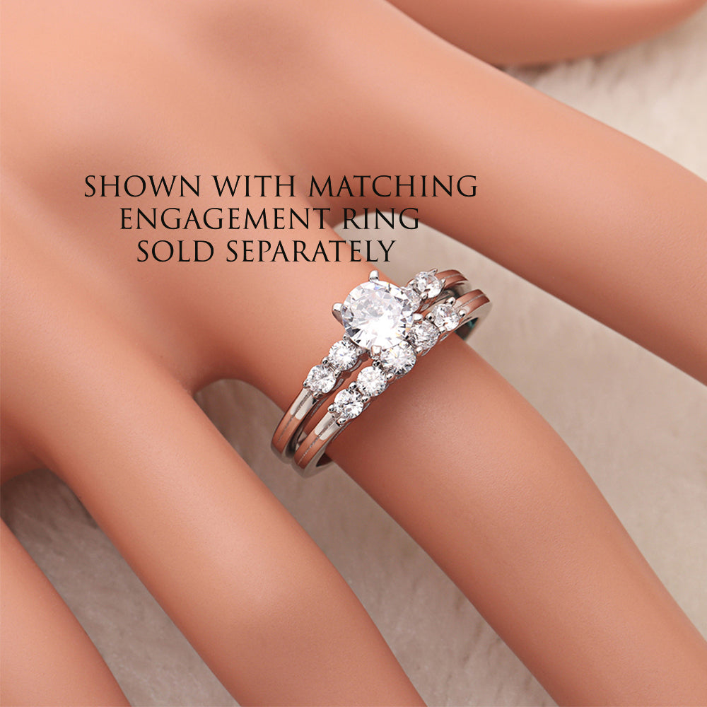 Le Sha Sterling Silver 5 Stone Anniversary Band Wedding Ring Ginger Lyne Collection