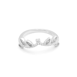 Leaf Band Sterling Silver Anniversary Wedding Ring Ginger Lyne Collection
