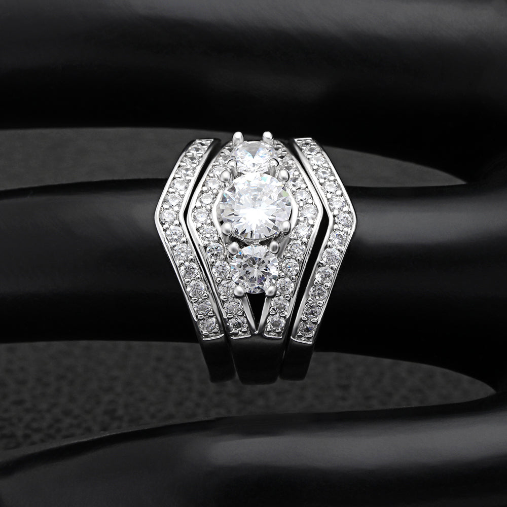 Leah II 3 Ring Bridal Engagement and Wedding Band Ring Set Ginger Lyne Collection