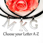 Load image into Gallery viewer, Initial Letter Pendant PU Leather Necklace Stainless Steel Men or Women