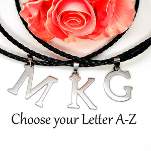 Initial Letter Pendant PU Leather Necklace Stainless Steel Men or Women