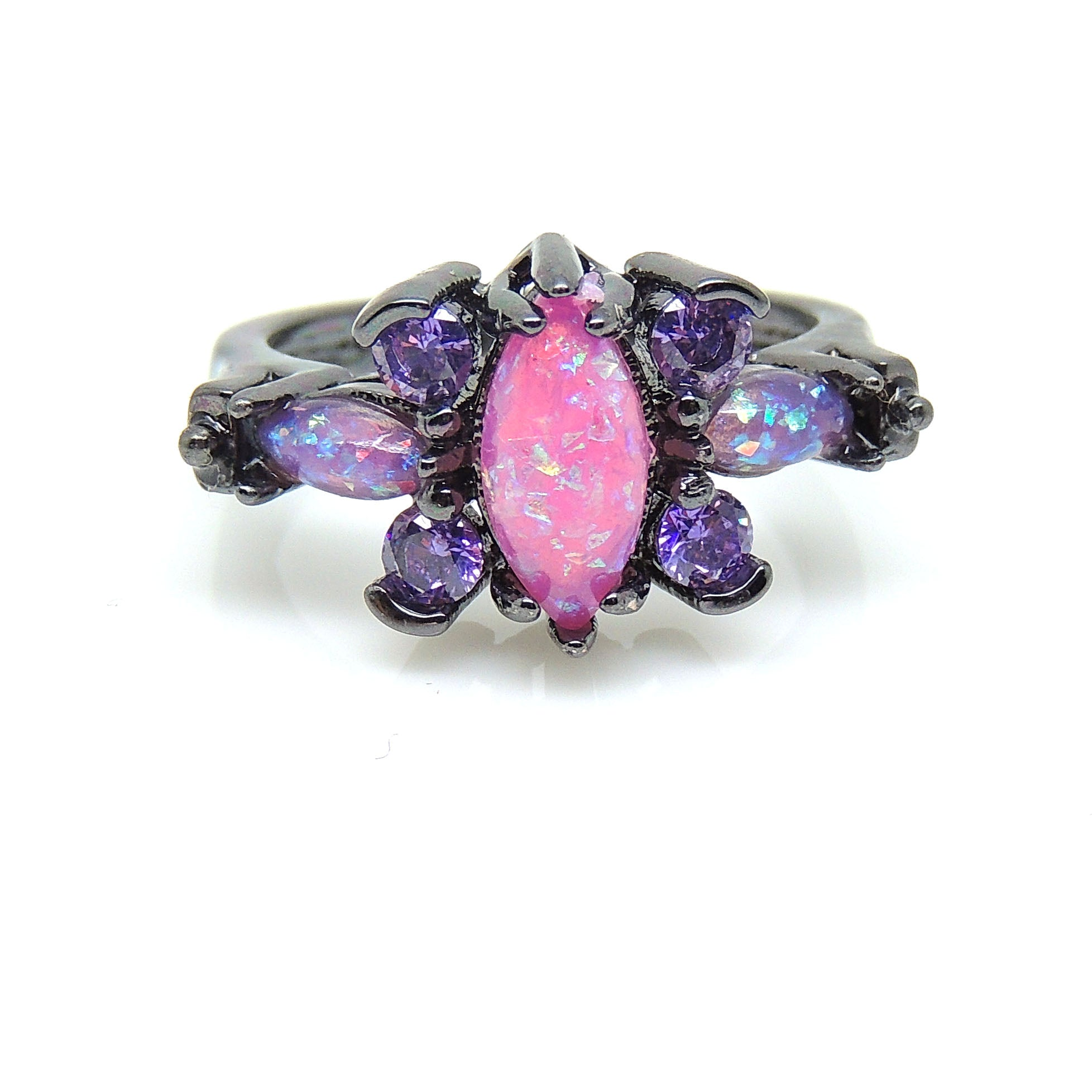 Logan Butterfly Design Pink Simulated Fire Opal Purple CZ Ring - Ginger Lyne Collection