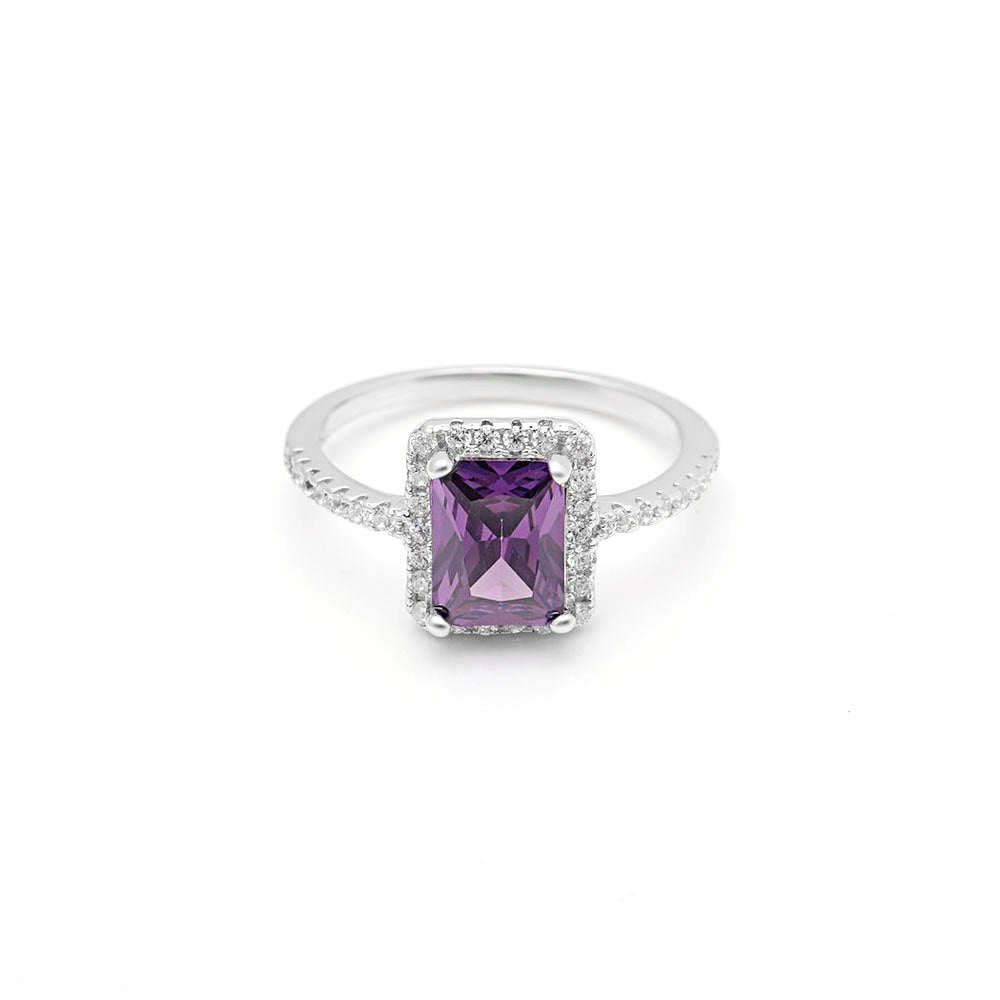 Lola Emerald Cut Sterling Silver Purple Clear CZ February Birthstone Engagement Ring Ginger Lyne Collection