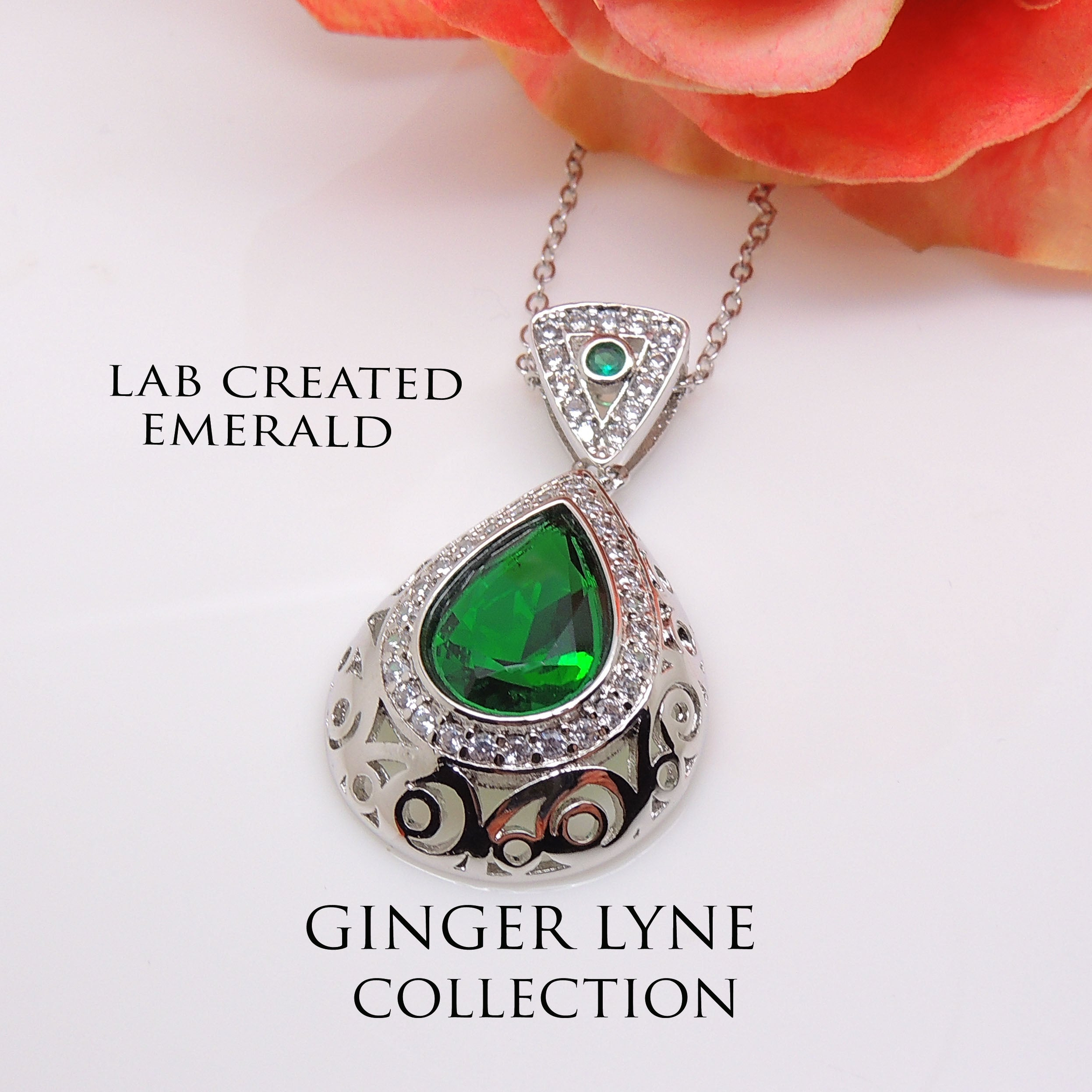 Lona Green Oval Teardrop Pendant Chain Necklace Ginger Lyne Collection