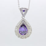 Load image into Gallery viewer, Lona Green Oval Teardrop Pendant Chain Necklace Ginger Lyne Collection