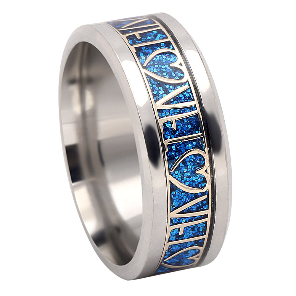 Love Blue Stainless Steel Comfort Fit Wedding Band Ring - Ginger Lyne Collection