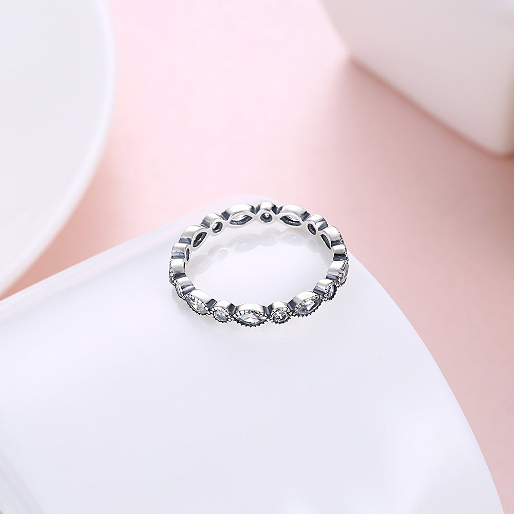 Lucy Antiqued Look Cubic Zirconia 925 Sterling Silver Eternity Anniversary Ring Wedding Band Ginger Lyne Collection