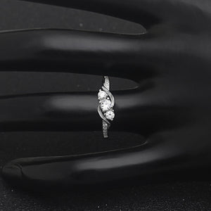 Ginger Lyne Collection Lydia Sterling Silver Three Stone Cubic Zirconia Cz Simulated Diamond Engagement Bridal Wedding Ring For Women Promise Jewelry