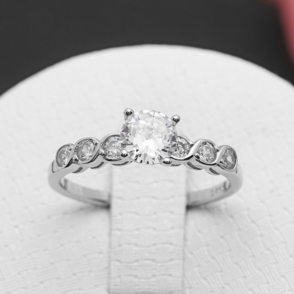 Ginger Lyne Collection Maggie Sterling Silver 6mm CZ Engagement Bridal Ring