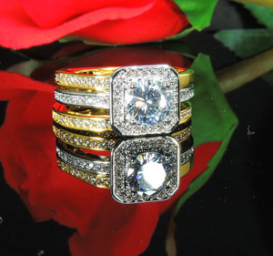 Marissa 3 piece Two Tone Engagement Wedding Band Ring Bridal Set Ginger Lyne Collection