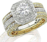 Load image into Gallery viewer, Marissa 3 piece Two Tone Engagement Wedding Band Ring Bridal Set Ginger Lyne Collection
