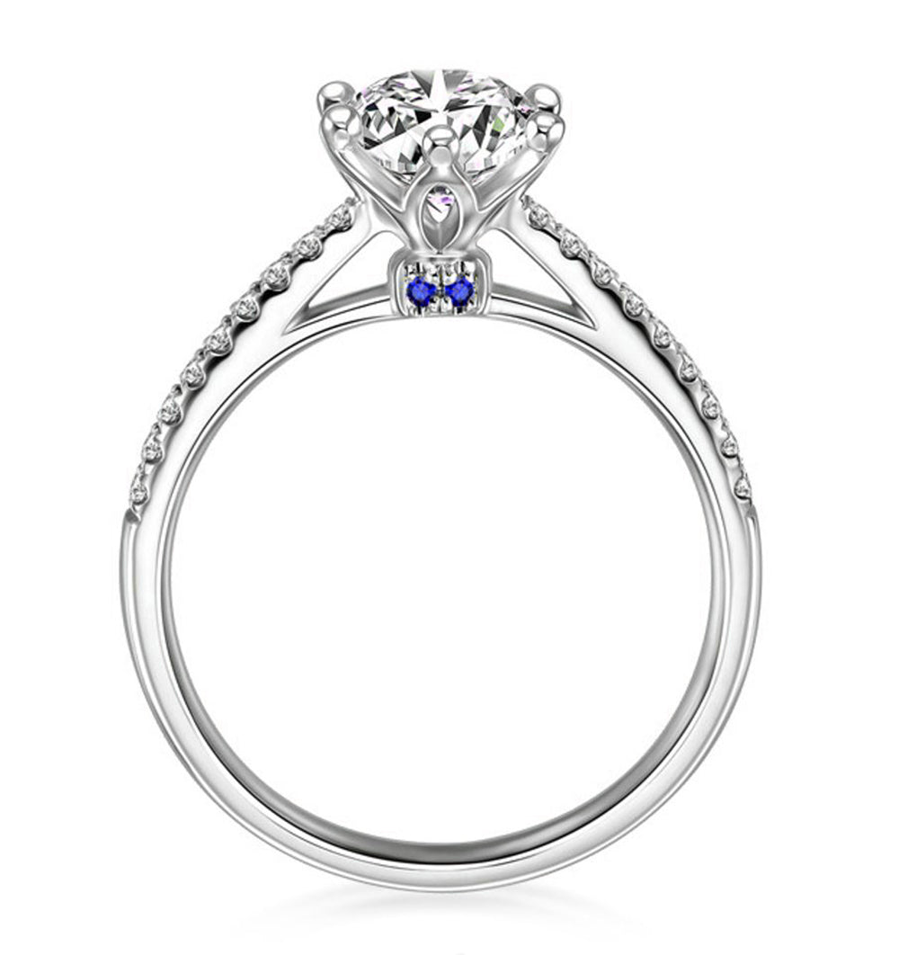 Merci Sterling Silver 7mm Solitaire Blue Accent CZ Engagement Wedding Bridal Ring Ginger Lyne Collection