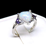 Load image into Gallery viewer, Milana Purple CZ Simulated Heart Opal Ring - Ginger Lyne Collection