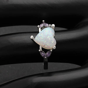 Milana Purple CZ Simulated Heart Opal Ring - Ginger Lyne Collection