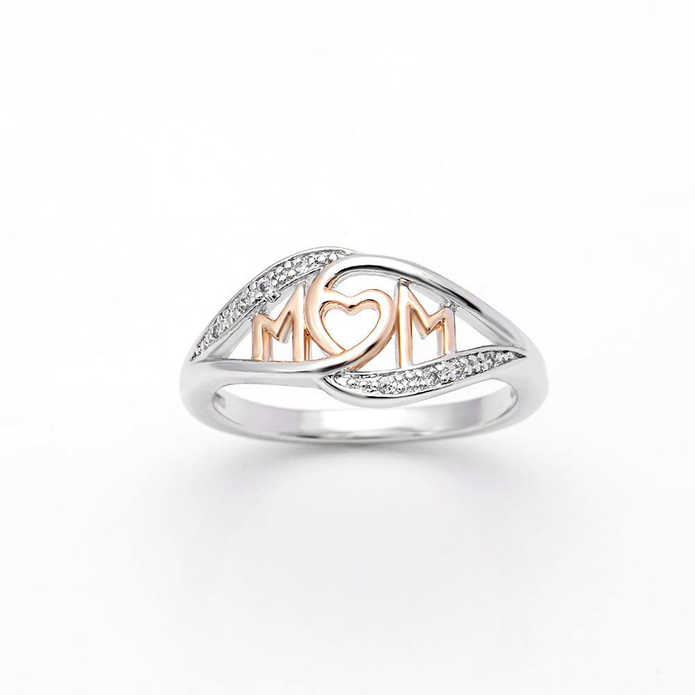 Mom Heart Ring Two-toned White and Rose Gold Plated or Sterling Silver Womens Mothers Day Jewelry Gifts Idea