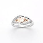 Load image into Gallery viewer, Mom Heart Ring Two-toned White and Rose Gold Plated or Sterling Silver Womens Mothers Day Jewelry Gifts Idea