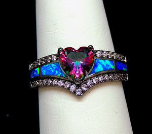 Mystic Heart Shape Statement Promise Ring for Girls or Women Black Plated Simulated Fire Opal Clear Cubic Zirconia Goth Engagement Birthstone Jewelry Ginger Lyne Collection