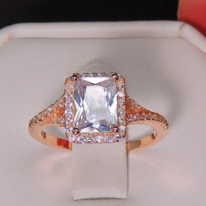 Nancy Emerald Cut Rose Gold Over Sterling Engagement Ring - Ginger Lyne Collection