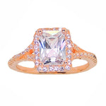 Load image into Gallery viewer, Nancy Emerald Cut Rose Gold Over Sterling Engagement Ring - Ginger Lyne Collection
