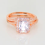 Load image into Gallery viewer, Nancy Rose Gold Over Sterling Engagement and Wedding Band Ring Set - Ginger Lyne Collection